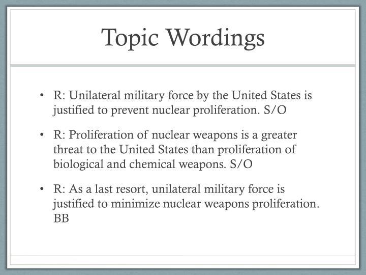 Topic Wordings