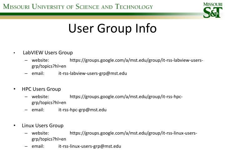 User Group Info