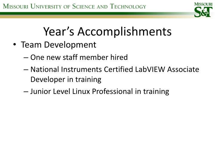 Year's Accomplishments