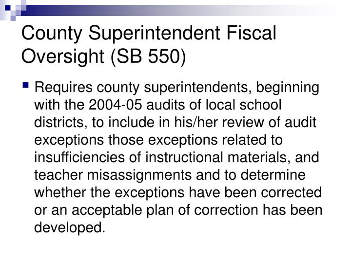 County Superintendent Fiscal Oversight (SB 550)