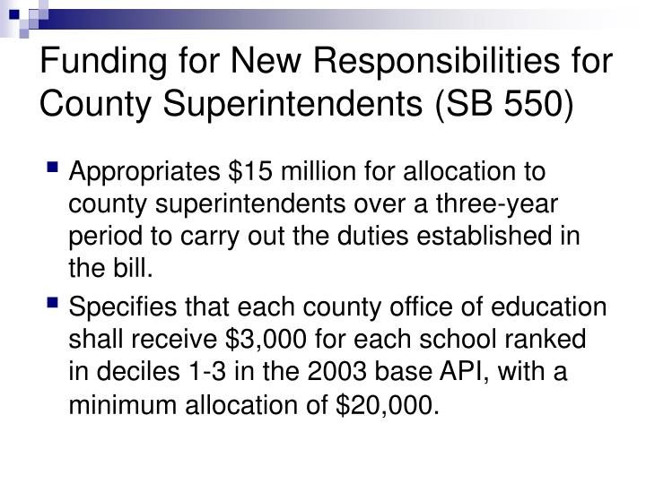 Funding for New Responsibilities for County Superintendents (SB 550)