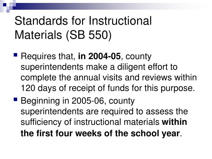 Standards for Instructional Materials (SB 550)
