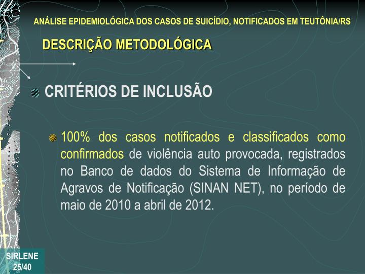 CRITÉRIOS DE INCLUSÃO