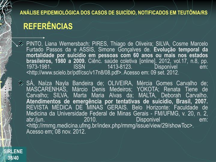 PINTO, Liana Wernersbach; PIRES, Thiago de Oliveira; SILVA, Cosme Marcelo Furtado Passos da e ASSIS, Simone Gonçalves de.