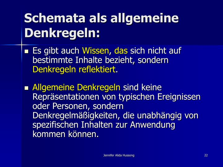 Schemata als allgemeine Denkregeln:
