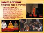 sabato 3 ottobre congresso yoga ayurveda