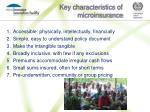 key characteristics of microinsurance