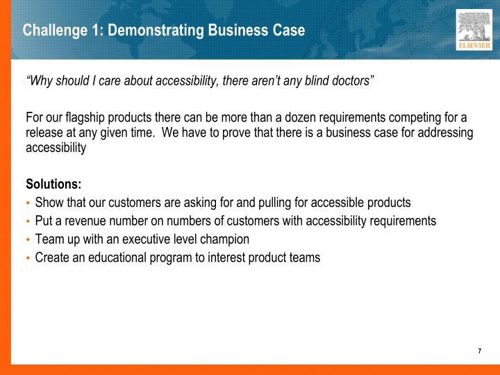 Challenge 1: Demonstrating Business Case