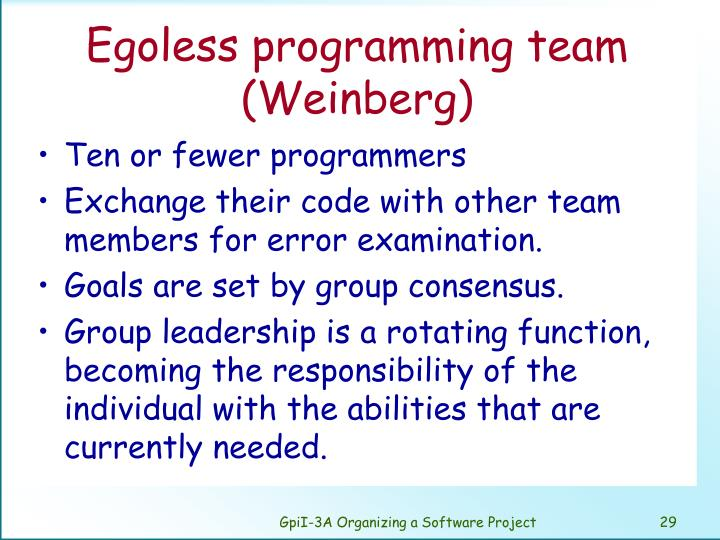 Egoless programming team (Weinberg)