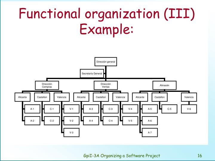 Functional organization (III) Example: