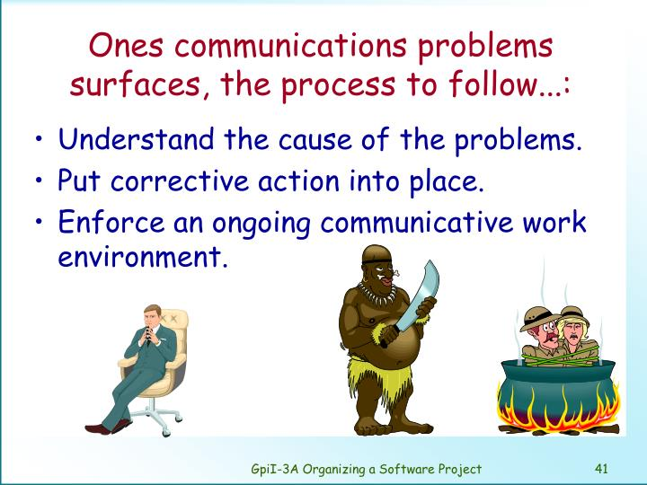 Ones communications problems surfaces, the process to follow...: