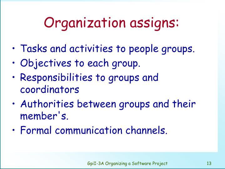 Organization assigns: