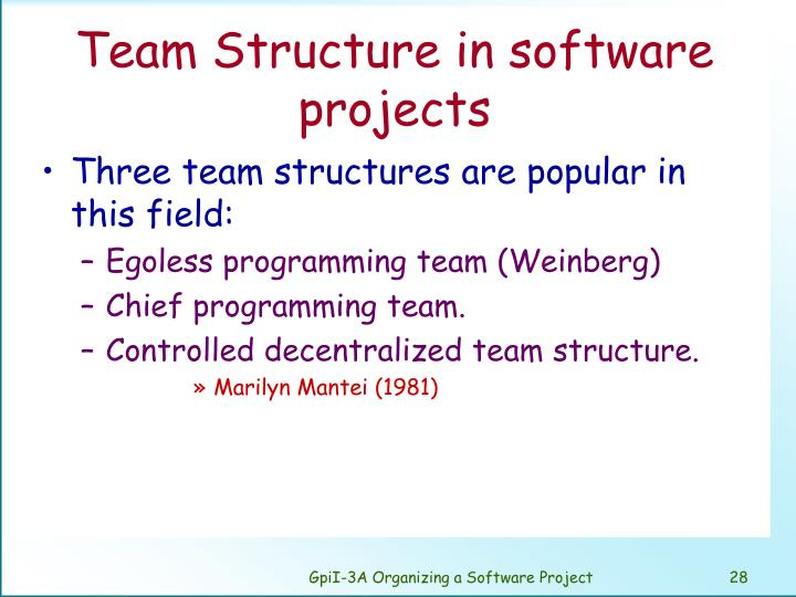 Team Structure in software projects