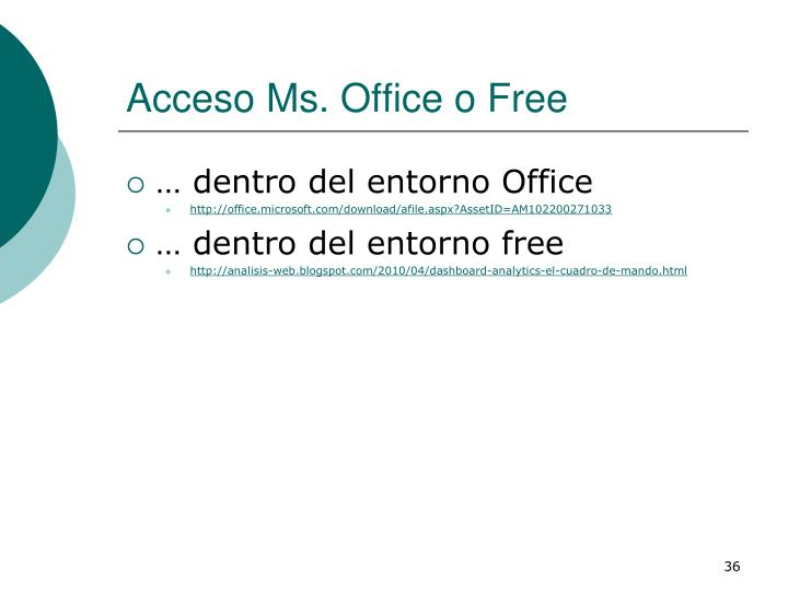 Acceso Ms. Office o Free