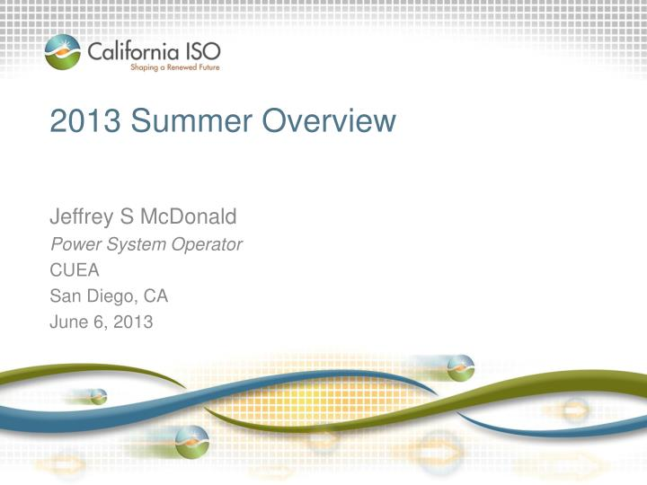 2013 summer overview n.