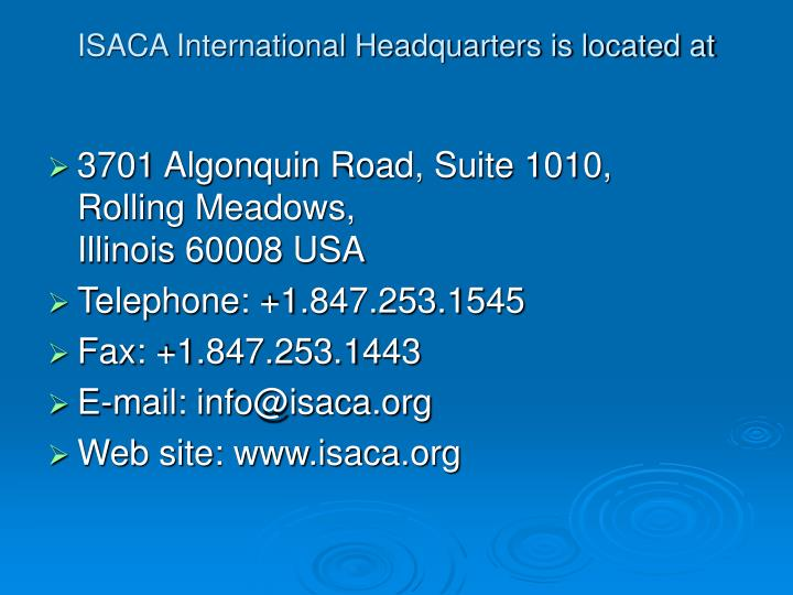 ISACA International Headquarters is located at