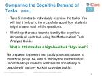 comparing the cognitive demand of tasks cont