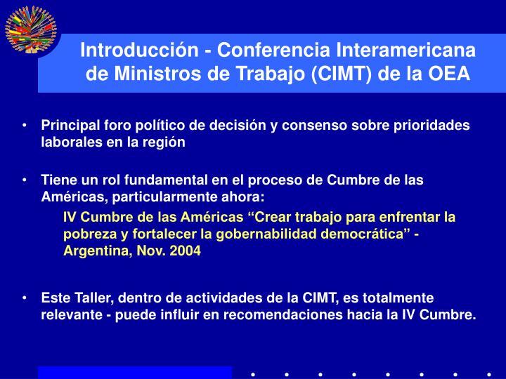 Introducci n conferencia interamericana de ministros de trabajo cimt de la oea