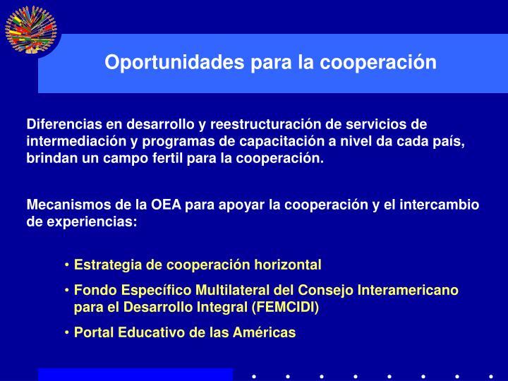 Oportunidades para la cooperación
