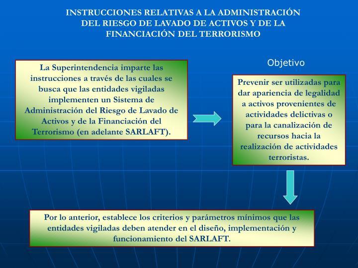 INSTRUCCIONES RELATIVAS A LA ADMINISTRACIÓN DEL RIESGO DE LAVADO DE ACTIVOS Y DE LA FINANCIACIÓN D...