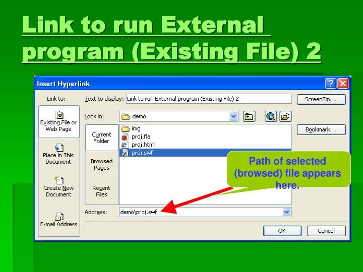 Link to run External program (Existing File) 2