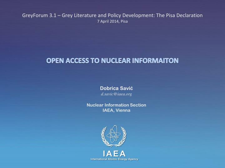 Open access to nuclear informaiton