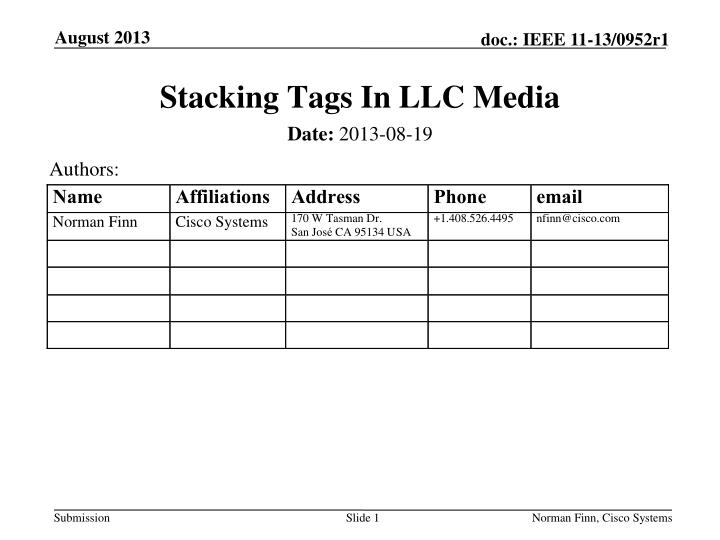 Stacking tags in llc media