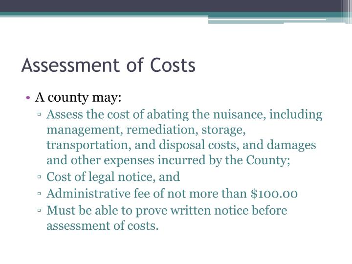 Assessment of Costs