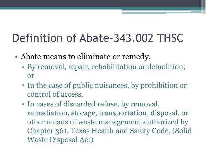 Definition of abate 343 002 thsc
