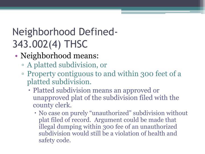 Neighborhood Defined-