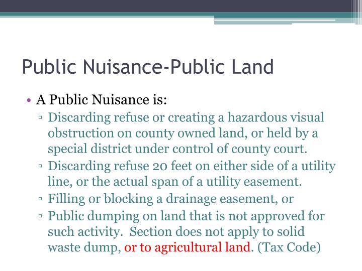 Public Nuisance-Public Land
