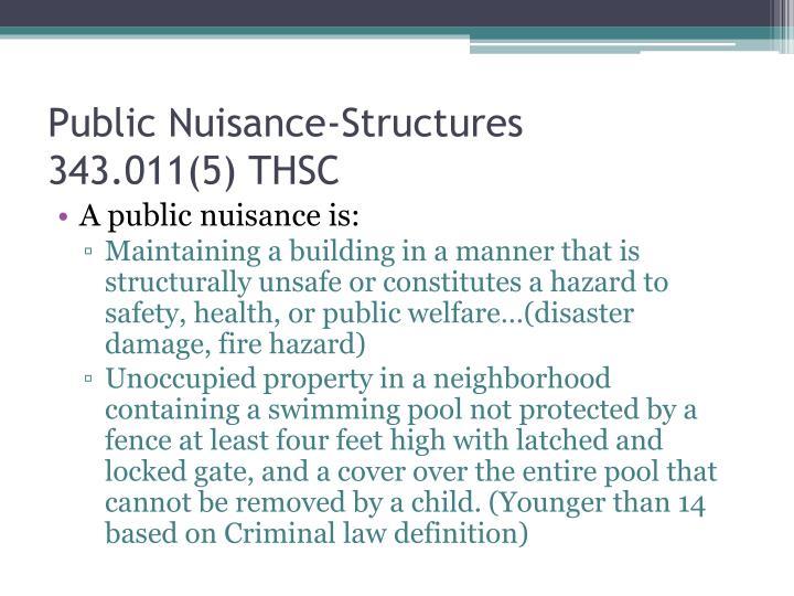 Public Nuisance-Structures
