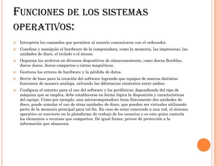 Funciones de los sistemas operativos: