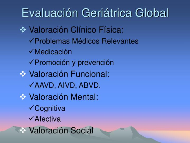 Evaluación Geriátrica Global