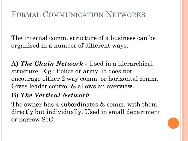 Formal Communication Networks