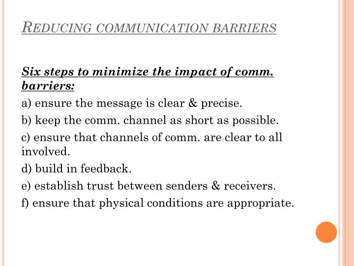 Reducing communication barriers