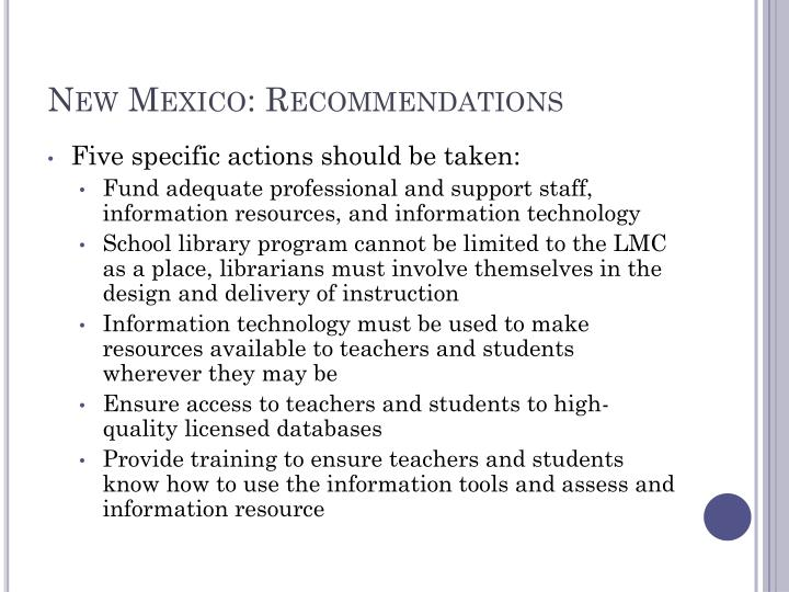 New Mexico: Recommendations