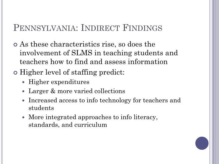 Pennsylvania: Indirect Findings