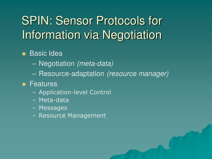 SPIN: Sensor Protocols for Information via Negotiation