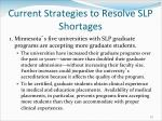 current strategies to resolve slp shortages