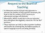 request to the board of teaching
