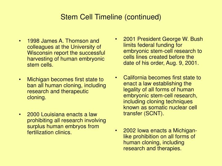 Stem cell timeline continued