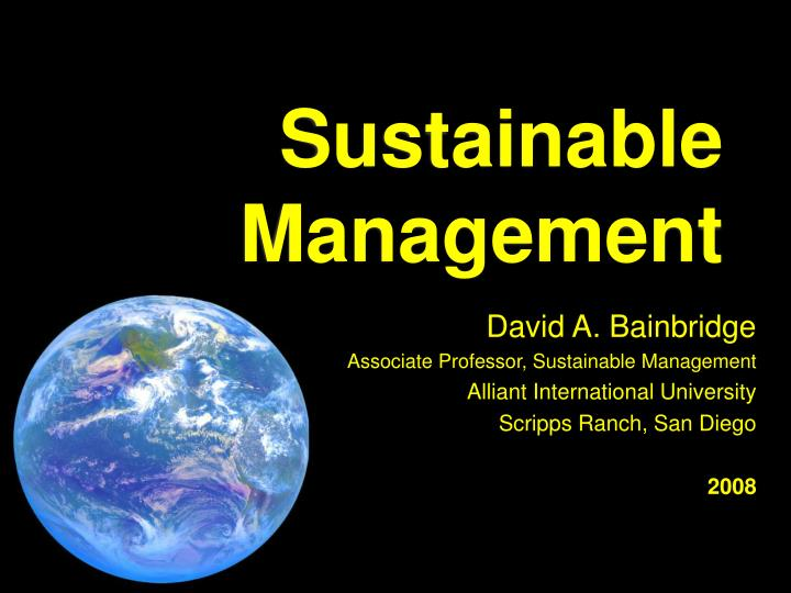 sustainable management n.