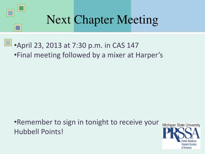 Next Chapter Meeting