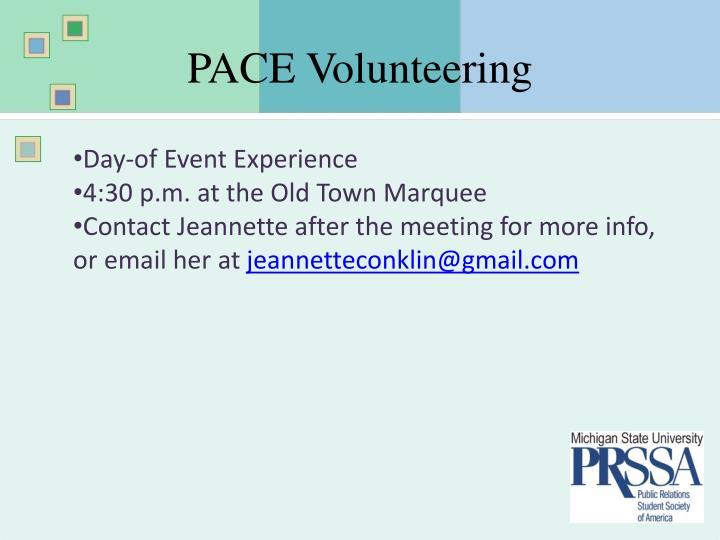 Pace volunteering