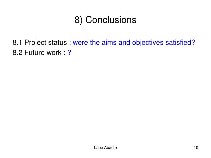 8) Conclusions