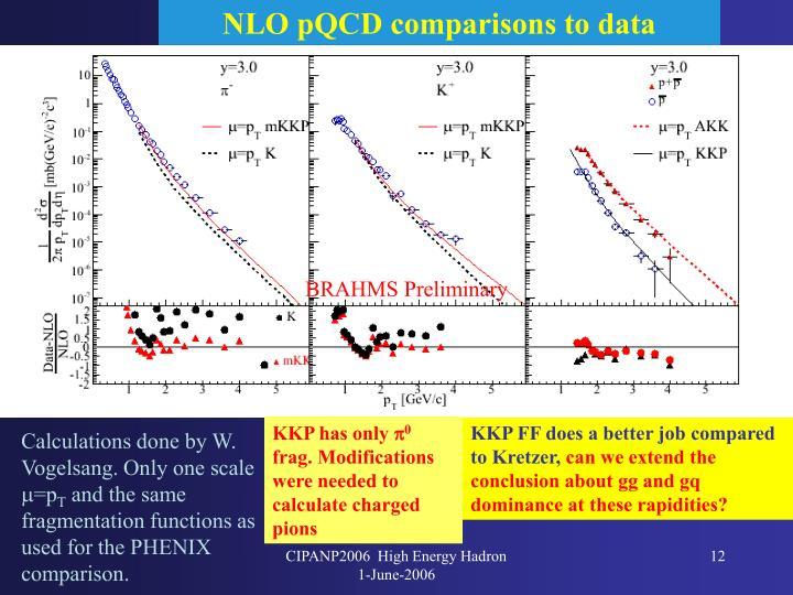 NLO pQCD comparisons to data