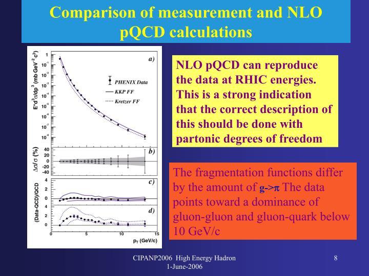 Comparison of measurement and NLO pQCD calculations