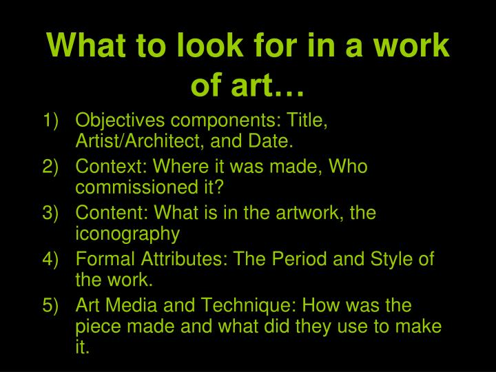 What to look for in a work of art…