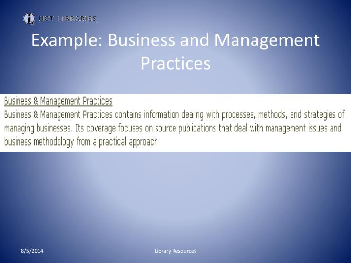 Example: Business and Management Practices
